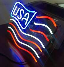 """NEON Light US Country Flag Patriot USA Map America Lamp Car Poster Sign 13""""x8"""""""