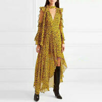 Self Portrait Sexy V-neck Asymmetric Long Dresses Ruffled Leopard Loose Dress