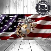 USMC Globe Anchor Marines American Flag Aluminum License Plate USA Tag Car Auto
