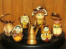 Russian HAND PAINTED SET Christmas Tree Ornaments GOLD CREAM SANTA 7 UNIQUE GIFT