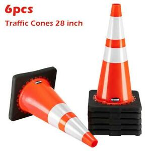 """New 28"""" PVC Fluorescent Reflective Road Traffic Parking Lots Safety Cones 6 PCS"""