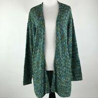 J. Jill Women Green Knit Open Front Sweater Cardigan sz M