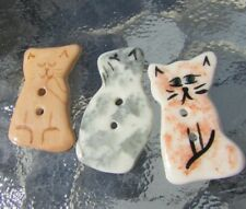"""Hand Painted Porcelain Buttons Lot Realistic Cats Owl Figurative Large 1.25"""""""