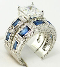 Bridal Wedding Ring Set - Size 6 Rich Blue lab Sapphire & Cubic Zirconia Antique