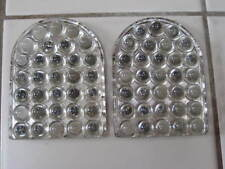 Vintage Rare Pair Clear Tombstone Bubble Glass Reflectors Motorcycle Car Truck