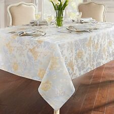 "Waterford 52"" X 70""   Eva Floral TABLECLOTH Soft Gold Grey Platinum Gold"