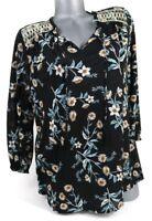 Style&co Peasant Blouse Size XL Black Floral 3/4 Elastic Sleeve Tassels Career