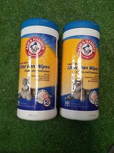 Arm & Hammer Heavy Duty Cat Litter Pan Scrubbing Fibers Wipes 30 Count 2 Tubs