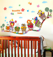 Beautiful Train Cartoon Animal Wall Sticker Decal for Nursery Baby Room Decor