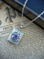 Gothic Pentacle Book Photo LOCKET Necklace Pendant  Wicca Silver Plated Magic