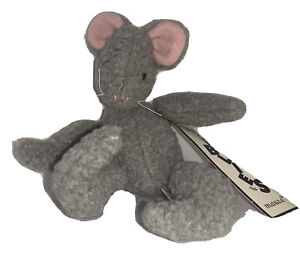 """6"""" Wobblies Gray Mouse Pink Tail Plush Toy #3351 North American Bear Co. 1997"""