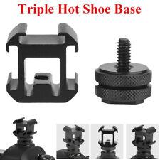Triple Hot Shoe Base Mount Adapter Extend Holder for Hot Shoe Mount Camera LJ