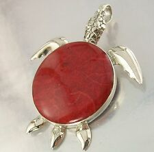 925 STERLING SILVER and red SPONGE CORAL TURTLE Design CHARM PENDANT 43mm x 48mm