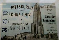 Rare 1951 PITTSBURGH PANTHERS PITT Vs DUKE BLUE DEVILS Football Ticket Stub
