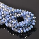 100pcs 6x4mm Rondelle Faceted Crystal Glass Loose Beads Silver&Opaque Lt Blue