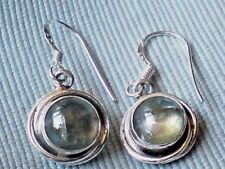 SOLID STERLING SILVER ROUND 15mm DROP EARRINGS with LABRADORITE STONES 15.95nwt