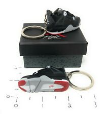 Hand Painted Retro OG Pair of 3D Mini Shoe Keychains Jordan 4 Black Varsity Red