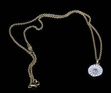 Danish Georg Jensen Sterling 925 White Enamel Daisy 11 mm Pendant Necklace
