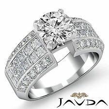Round Pave Invisible Diamond Engagement Ring GIA F VVS2 14k White Gold 2.46ct