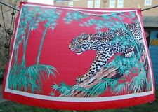 Large Cheetah Scarf - Made in Italy - Big Cat Wild Animal Print - Red