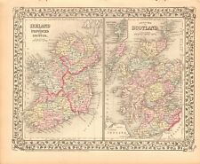 1874 ANTIQUE MAP - IRELAND AND SCOTLAND