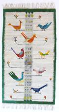 More details for birds large vintage folk art hand crafted polish textile wall hanging rug 1970's
