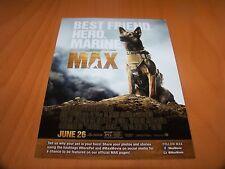 "MAX MOVIE MARINE DOG 2015 AMERICAN HUMANE ASSOCIATION MGM 5"" X 7"" 5X7 PROMO CARD"
