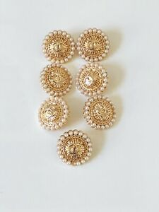 Set of 7 Chanel Buttons 20mm, Gold, White Pearls, Stamped