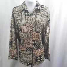 Kathie Lee Womans Top Size 16 Button Front Blocked Floral Print Shirt Blouse