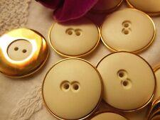 lot 8 boutons blanc pourtour métal doré couture mercerie diamètre 2,3 cm ref 486