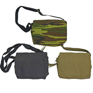 Canvas Shoulder Bag Vintage Army Military Style Haversack Tool Webbing Small New