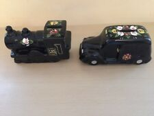 BARGE WARE STEAM ENGINE R MOSS LTD BLACK TAXI CAB MONEY BOXES 1026 RED STOPPERS
