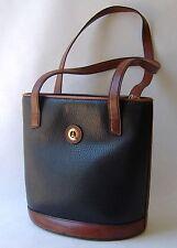 La Tour Eiffel 1887 Black Brown Bucket Purse Leather Large Shoulder Bag Tote