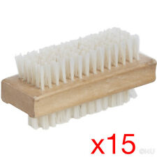 15 X WOODEN NAIL BRUSH MANICURE PEDICURE SCRUBBING CLEANING BRISTLES 12x4.5cm