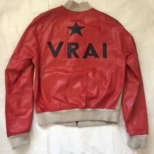 "Rare Vintage Jean Paul Gaultier Red ""VRAI"" Leather Track Jacket 48"