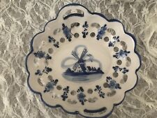 Delft Blue Handpainted Small Reticulated Trinket Bowl  Dish Heart Shaped Cutout
