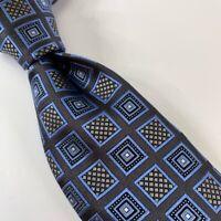 Ermenegildo Zegna Mens Tie Blue Gray Geometric 100% Silk Italy Classic