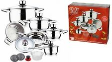SWISS HUFEISEN 16 Pc Stainless Steel Cookware Set Fry Pans Induction Casserole
