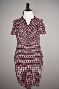 ST. JOHN Collection NEW $1295 Multi Tuck Tweed Sweater Dress Plum Multi Size 16