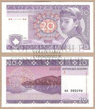 Yugoslavia - Kosovo 20 Dinare 2016 UNC SPECIMEN Test Note Banknote