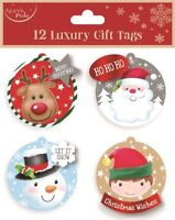 12 LUXURY GIFT TAGS CHRISTMAS REINDEER XMAS GIFT WRAPPING PRESENT VARIOUS DESIGN