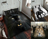 3D Animal Printed Duvet Quilt Cover With Pillow Cases Bedding Set All UK Sizes