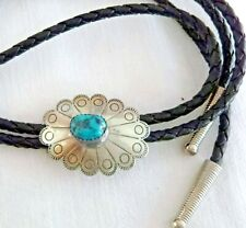 Vintage Artisan Bolo Tie Sterling Silver Bola Slide Turquoise Cabochon