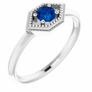 Blue Sapphire Geometric Ring In Platinum