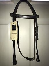 Leather Straight Brow Show Headstall, Dark Oil, NWT