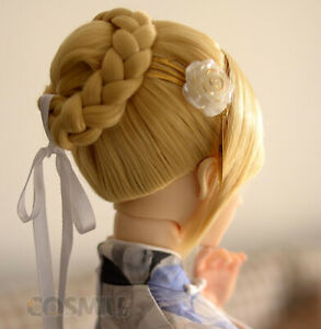 In Stock FGO Fate Saber Bun Cosplay Hair Wig Fit for 1/3 BJD Doll Limit Sa