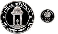 Rare 1999 Uzbekistan Large Silver Proof 100 Som-Monument Alisher Navoi-Poet