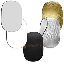 90*120CM Disco oval de múltiples Plegable 5en1 Luz Reflector oro plata blanco ES