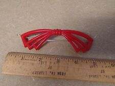 Vtg Retro Mid Mod Plastic Hair Barrette Red Bow Clips Accessories Combs 4.5""