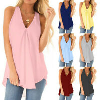 Womens Summer Chiffon Tanktop Plus Size Solid T Shirt Casual Loose Tops Blouse